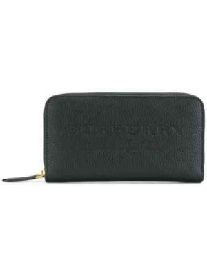 Burberry 4059666 embossed leather zip around wallet black