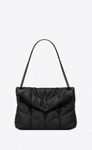 SAINT LAURENT PUFFER MEDIUM LEATHER BAG BLACK